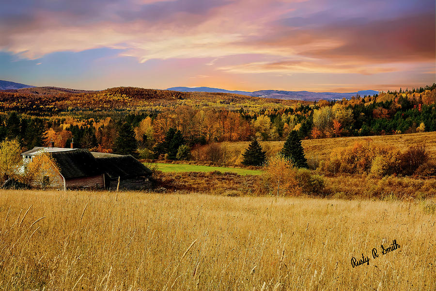 Autumn farm landscape Northern New Hampshire. by Rusty R Smith