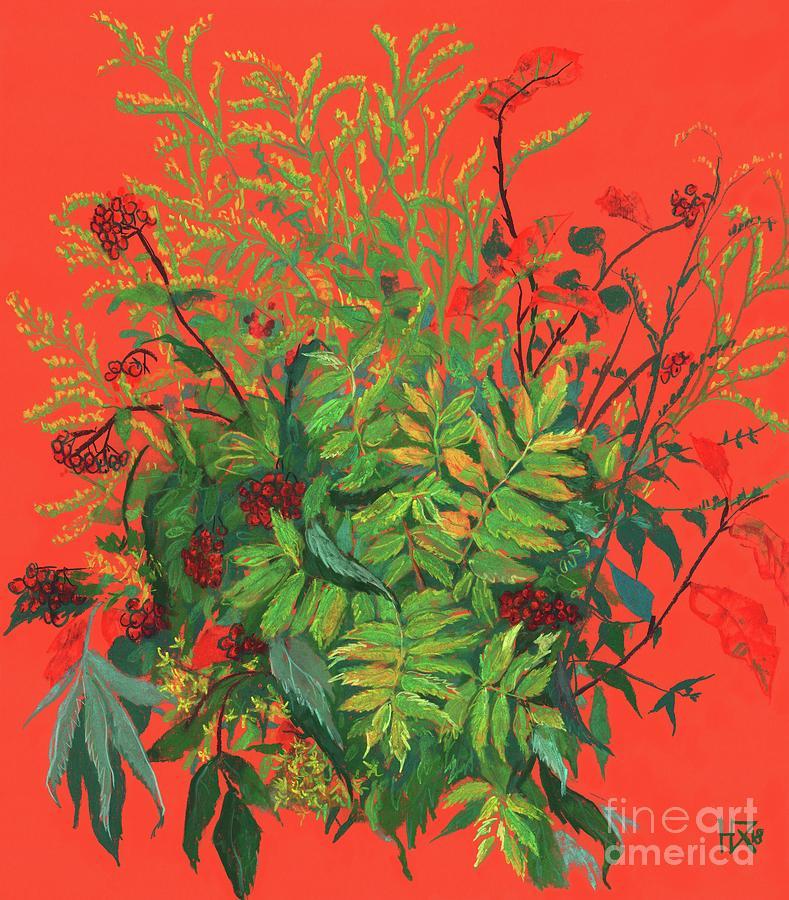 Botanical Illustration Painting - Autumn floral, rowan leaves, elder berries and goldenrod by Julia Khoroshikh