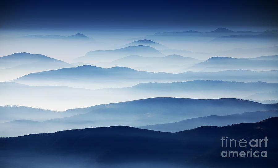 Sunshine Photograph - Autumn Foggy Landscape In Parang by Mikadun