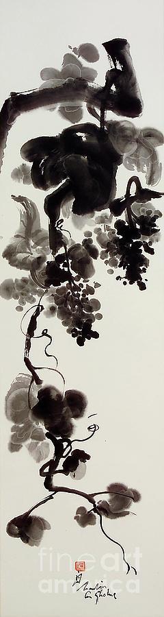Vine Painting - Autumn Grape Vine Painting by Nadja Van Ghelue