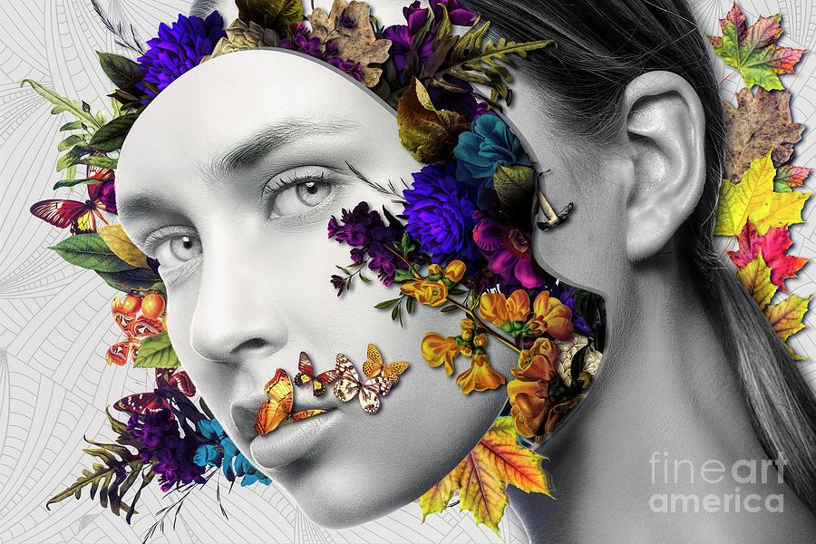 Female Photograph - Autumn Head by Erik Brede