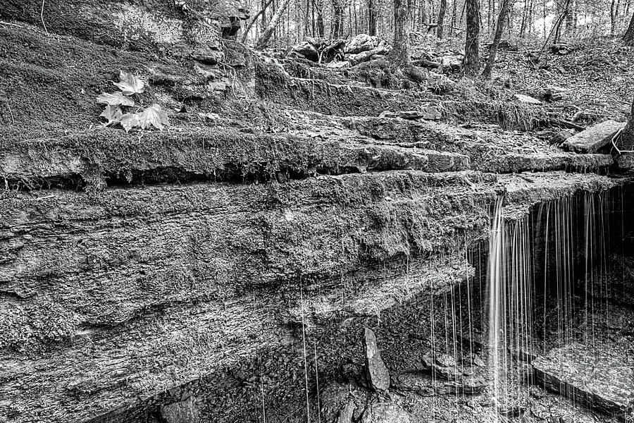 Autumn in the Ozark Mountains Waterfall Black and White by JC Findley
