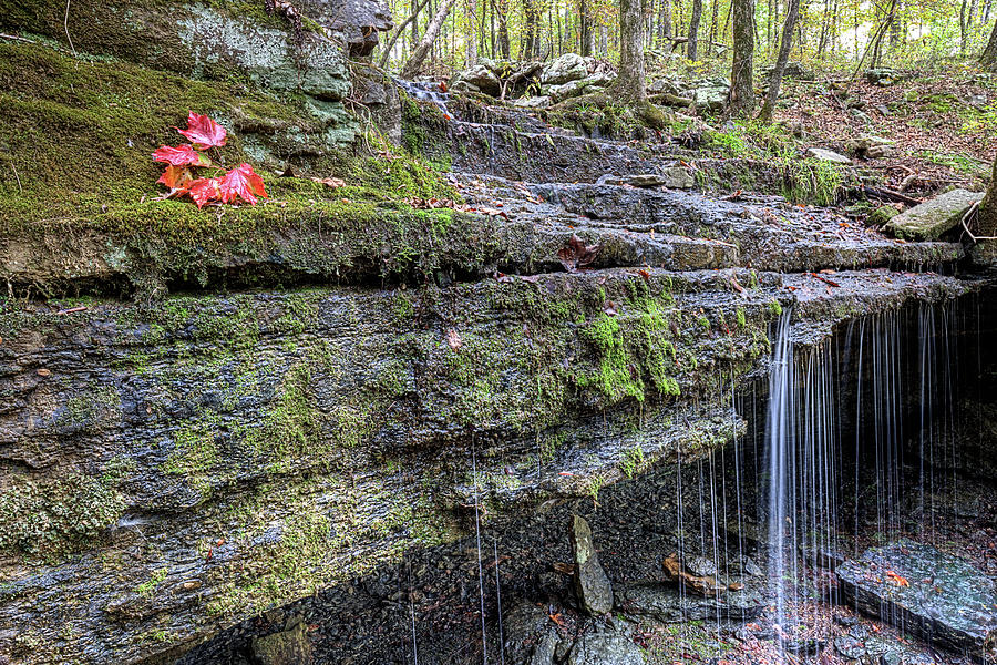 Autumn in the Ozark Mountains Waterfall by JC Findley