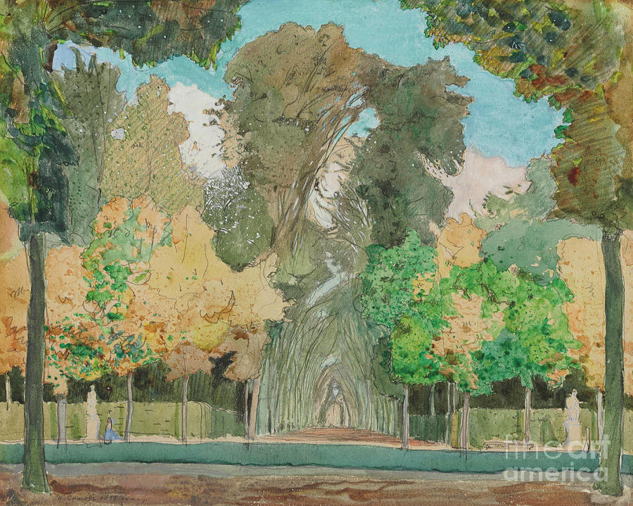 Autumn In The Park At Versailles Drawing by Heritage Images