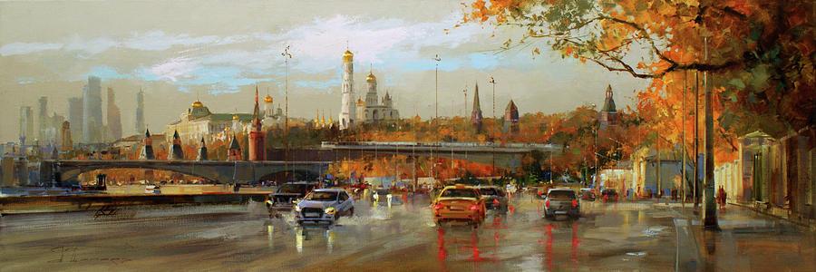 Autumn In Zaryadie. Moskvoretskaya Embankment. Painting