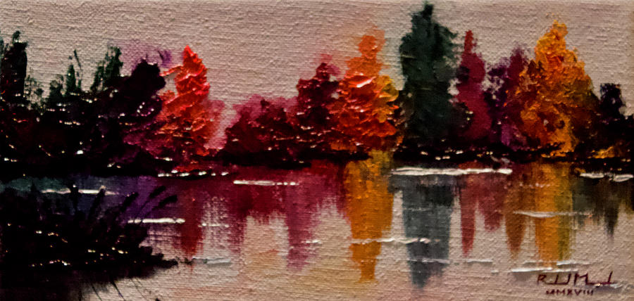 Autumn Painting - Autumn Lake No 2 by Roland Miguel