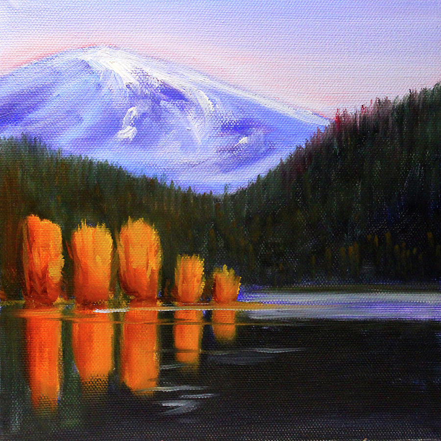 Water Reflection Painting - Autumn Lake Reflection by Nancy Merkle