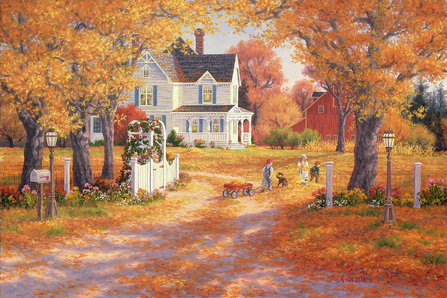 Autumn Painting - Autumn Leaves And Laughter by Randy Van Beek