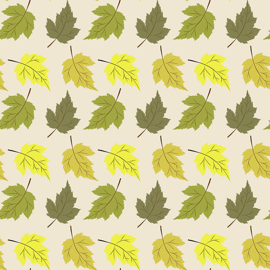 Colorful Mixed Media - Autumn Leaves Seamless Pattern Vector - Fabric Textile Collections by Mohamed Rasik