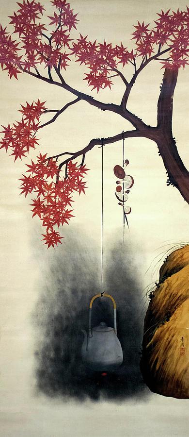 Shibata Zeshin Painting - Autumn Maple, Shiitake Mushroom, Kettle - Digital Remastered Edition by Shibata Zeshin
