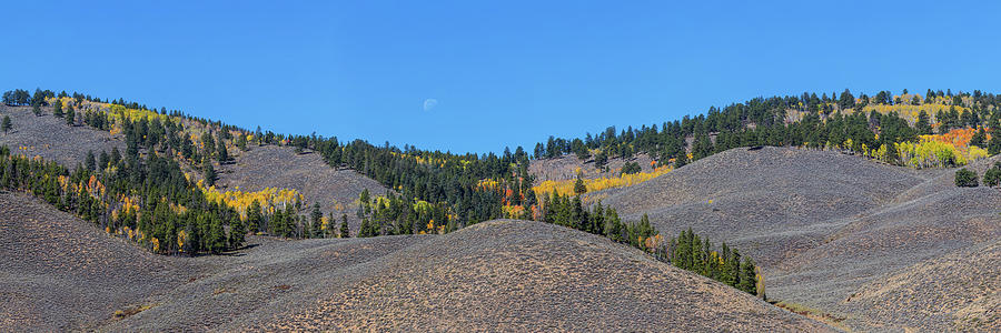 Waning Gibbous Moon Photograph - Autumn Moon Setting Panoramic View by James BO Insogna