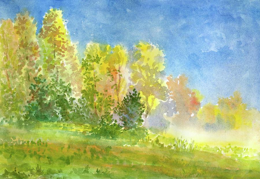 Autumn Morning Fog Digital Art by Pobytov