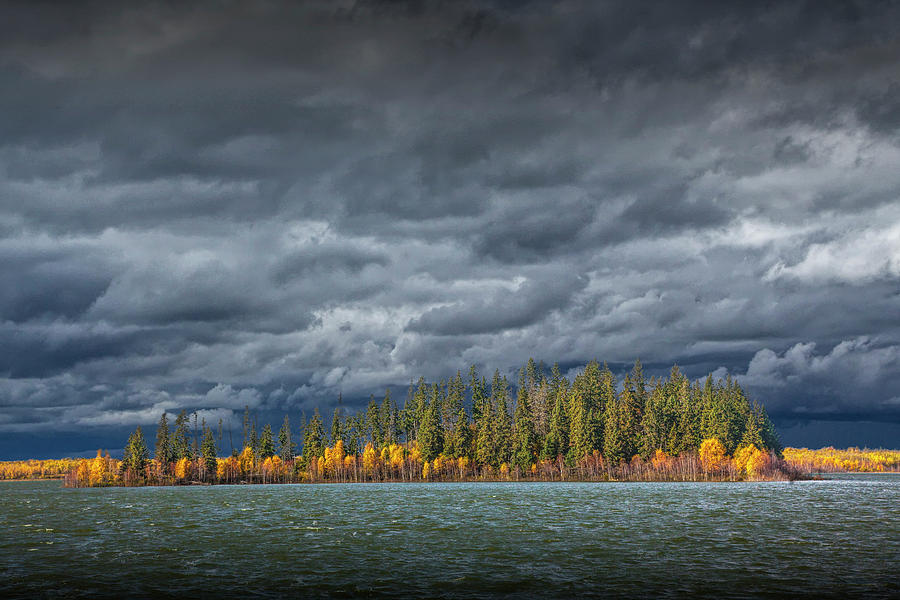 Autumn Photograph of Lake and Forest Scene at Elk Island by Randall Nyhof