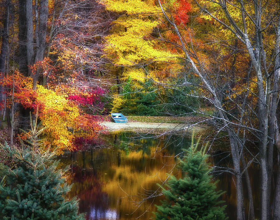 Colors Photograph - Autumn Pond With Rowboat by Tom Mc Nemar