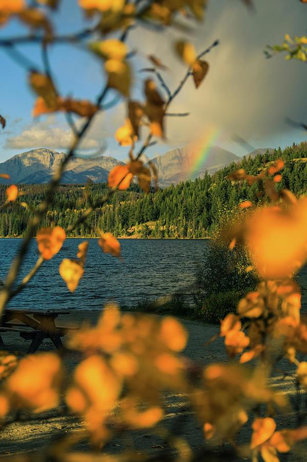 Autumn Rainbow On Lake Edith by Dan Sproul