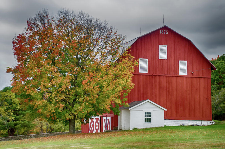 Autumn Red Barn by Crystal Wightman