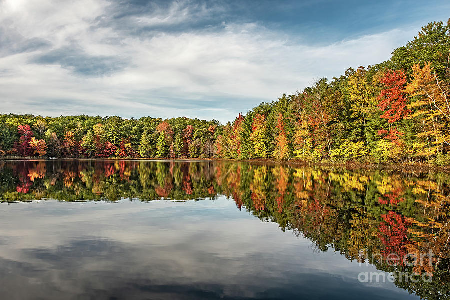 Autumn Reflections in a Calm Lake with Blue Skies by Sue Smith