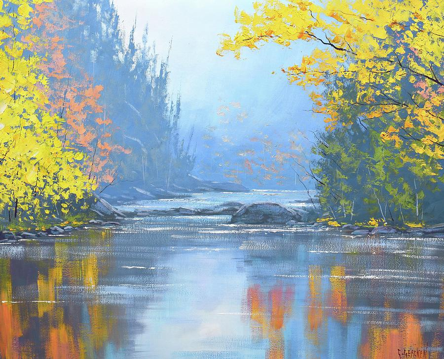 River Painting - Autumn River trees by Graham Gercken