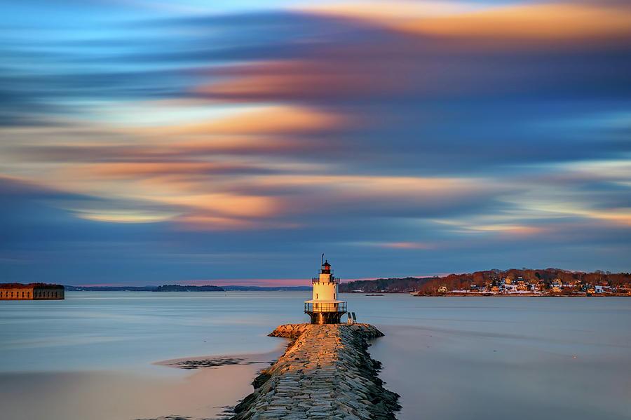 Autumn Skies At Spring Point Ledge Lighthouse by Rick Berk