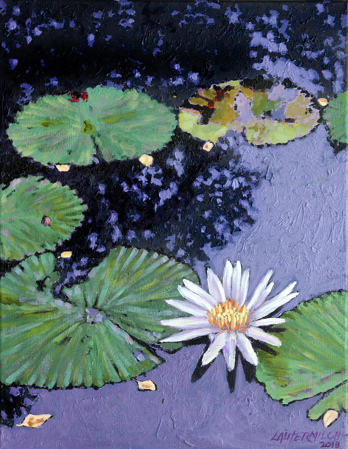 Water Lily Painting - Autumn Spots by John Lautermilch