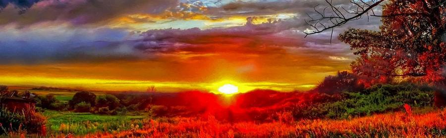 Autumn Sunrise Over The Sunflower Field by Sandi OReilly