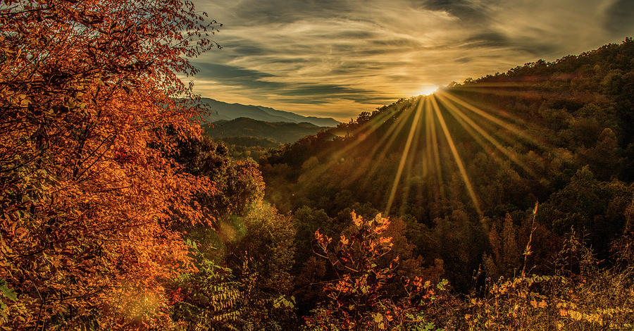 Foothills Parkway Photograph - Autumn Sunset by Marcy Wielfaert
