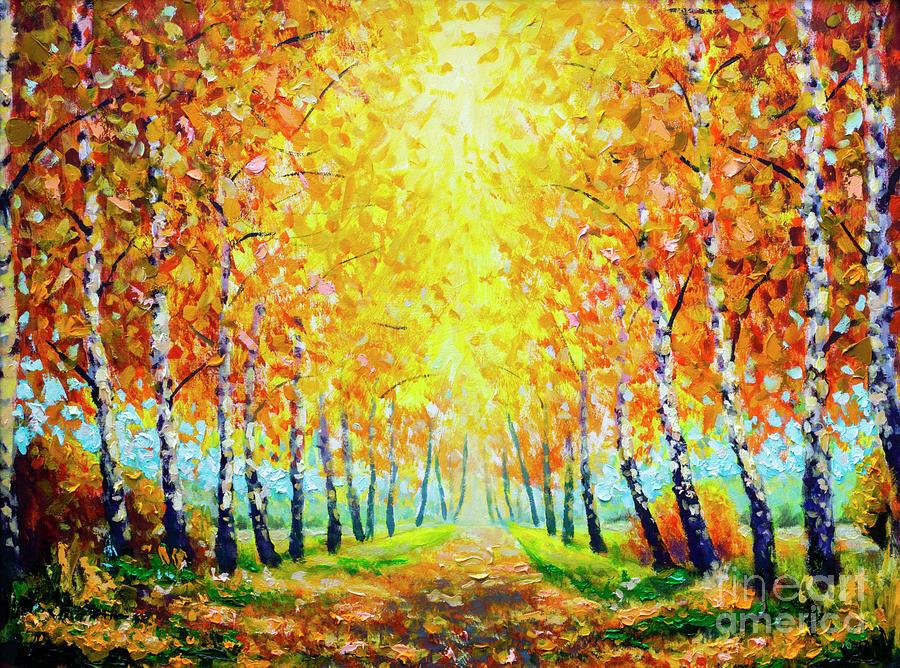Autumn Theme Painting Oil Alley Of Autumn Trees Modern Art