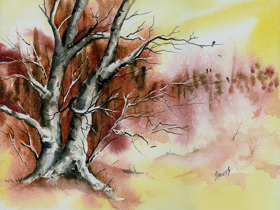 Autumn Tree with Birds by Sam Sidders