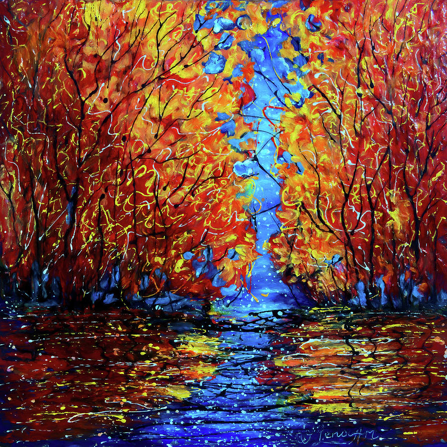 Autumn Trees at Twilight by OLena Art - Lena Owens