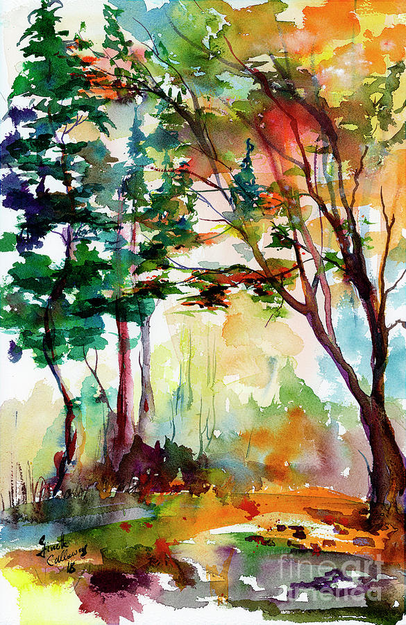 Autumn Trees Watercolors Painting by Ginette Callaway