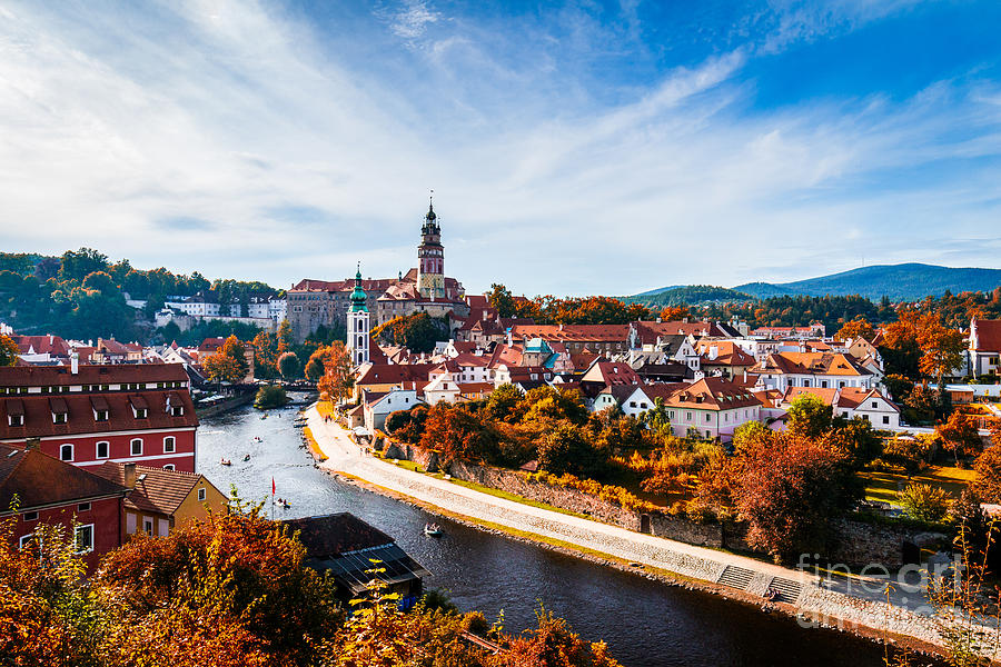 Castle Photograph - Autumn View On The Cesky Krumlov And by Daliu