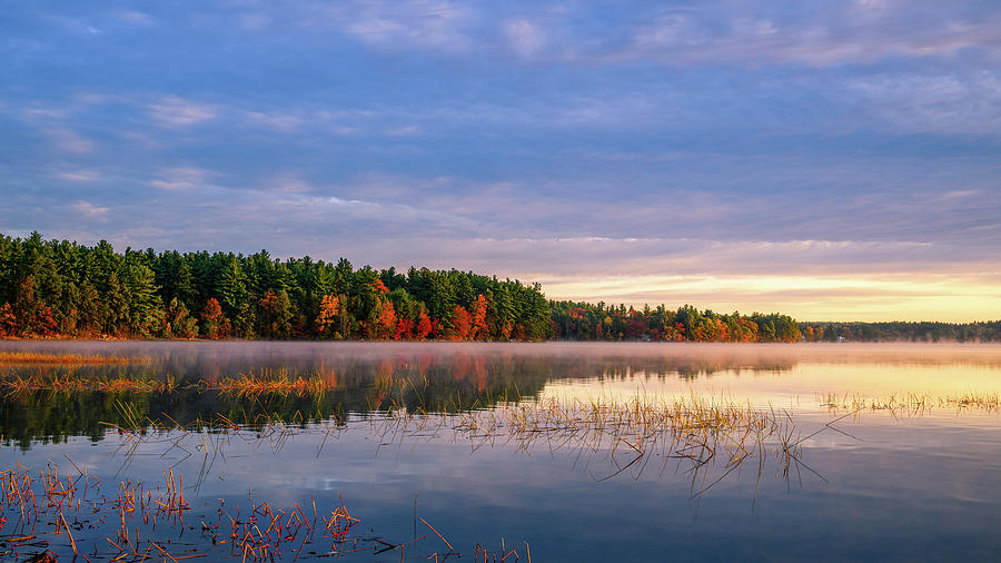 Autumn Warmth, Massabesic Lake N H by Michael Hubley