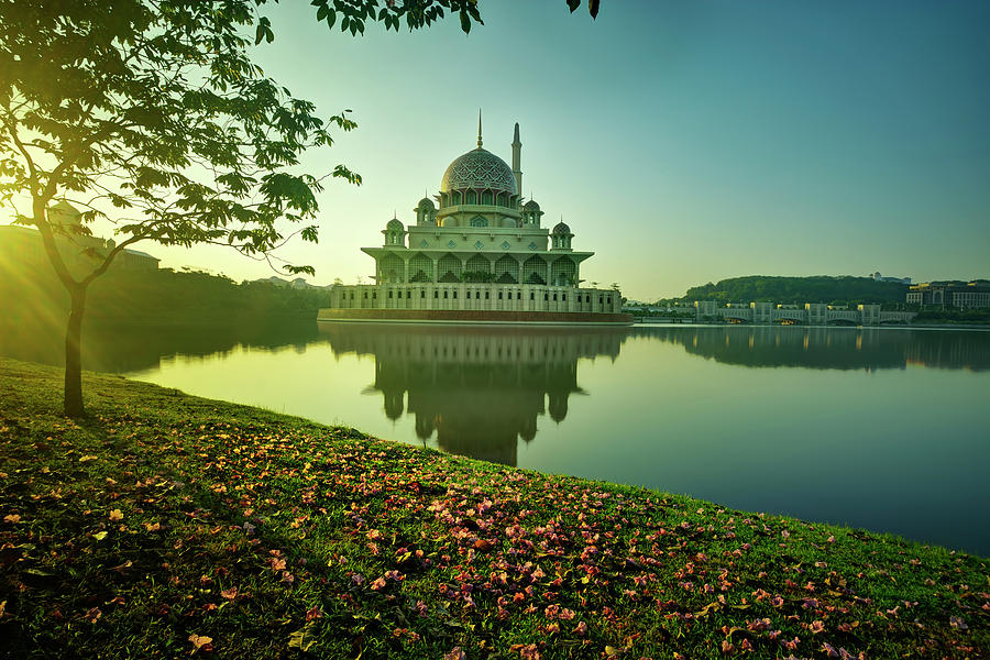 Autumn With Mosque Floating On The River Photograph by Tuah Roslan