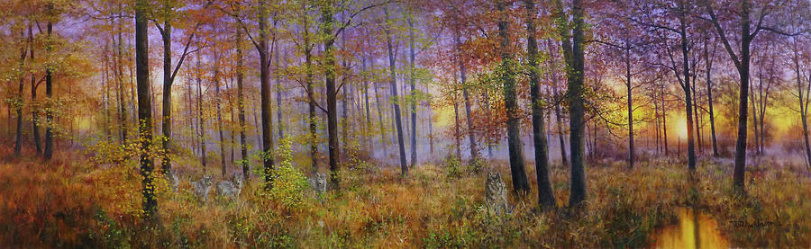Panoramic Painting - Autumn Wolves by Bill Makinson