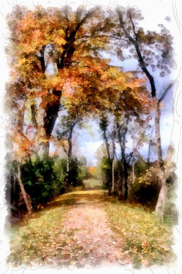Digital Painting Digital Art - Autumnal Paths by Mario Carini