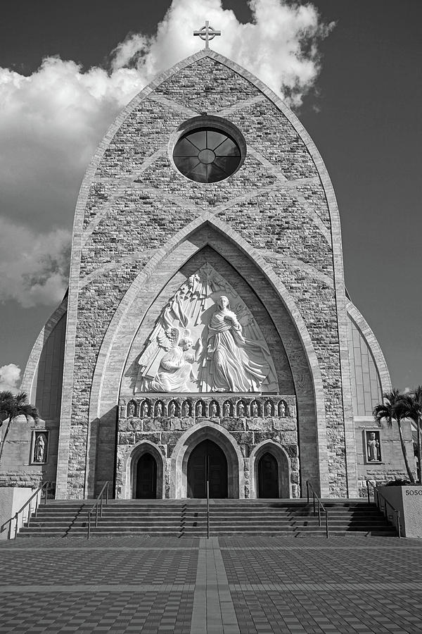 Ave Maria Cathedral Black and White by Kathi Mirto
