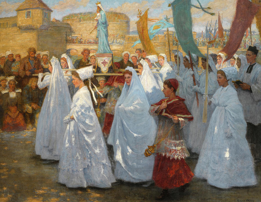 Ave Maria Painting - Ave Maria, Procession Religieuse In Bretagne by Aloysius OKelly