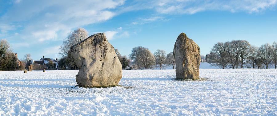 Avebury Photograph - Avebury Stone Circle In The Snow Panoramic by Tim Gainey