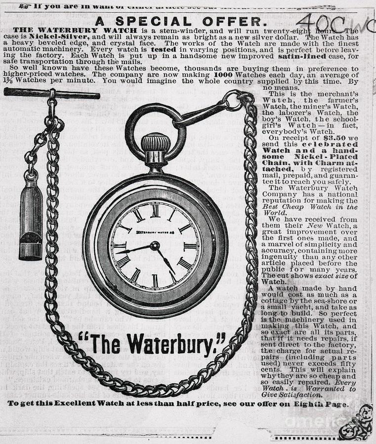 Avertisement For The Waterbury Pocket Photograph by Bettmann