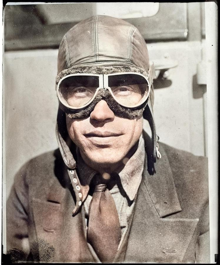 Aviator Wilmer Stultz  by Jones, Leslie, 1886-1967  photographer colorized by Ahmet Asar by Ahmet Asar