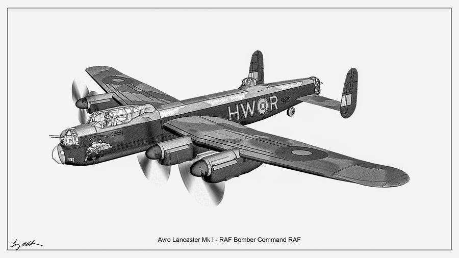 Avro Lancaster Mk1 - Sketch  by Tommy Anderson