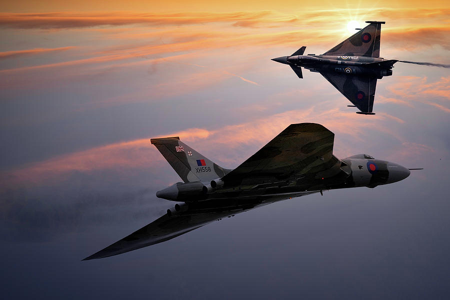 Xh558 Mixed Media - Avro Vulcan Xh558 And Eurofighter Typhoon Gina. by Smart Aviation