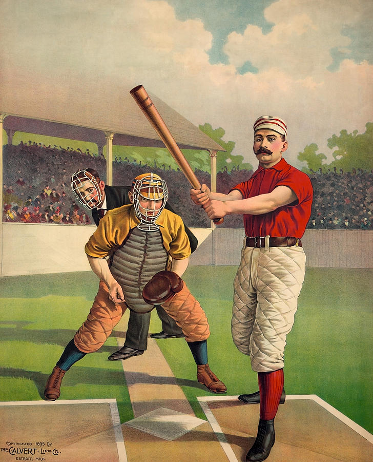 Awaiting The Pitch - Vintage Color Baseball Print - 1895 Painting