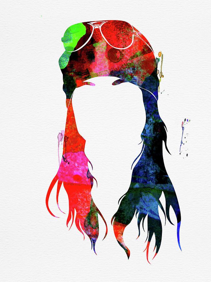 Axl Rose Mixed Media - Axl Rose Watercolor by Naxart Studio