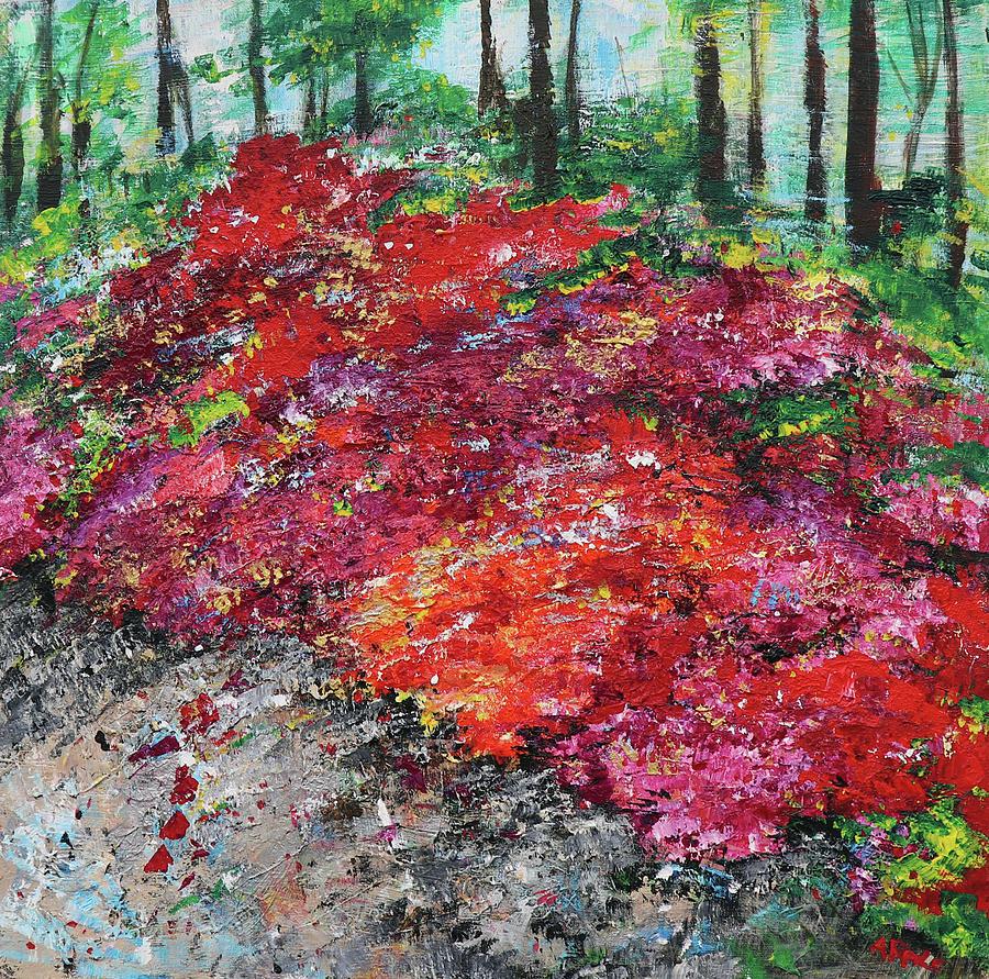 Azaleas Painting - Azaleas National Arboretum 201836 by Alyse Radenovic
