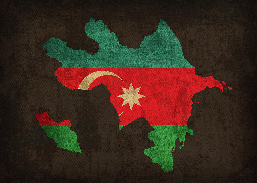 Azerbaijan Country Flag Map Mixed Media By Design Turnpike