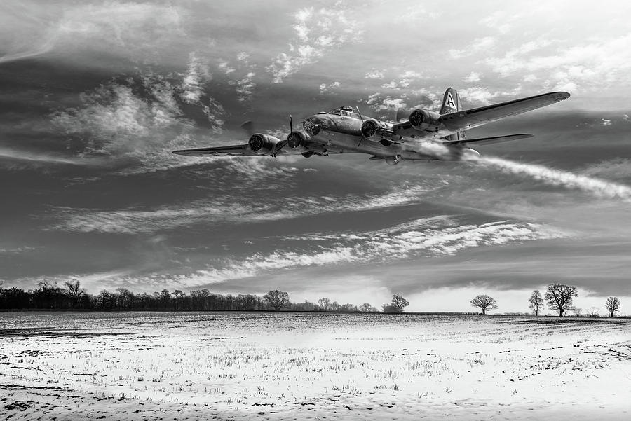 B-17 crash landing BW version by Gary Eason