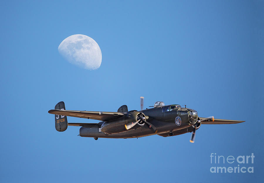 B-25 Bomber and Gibbous Moon by Kevin McCarthy