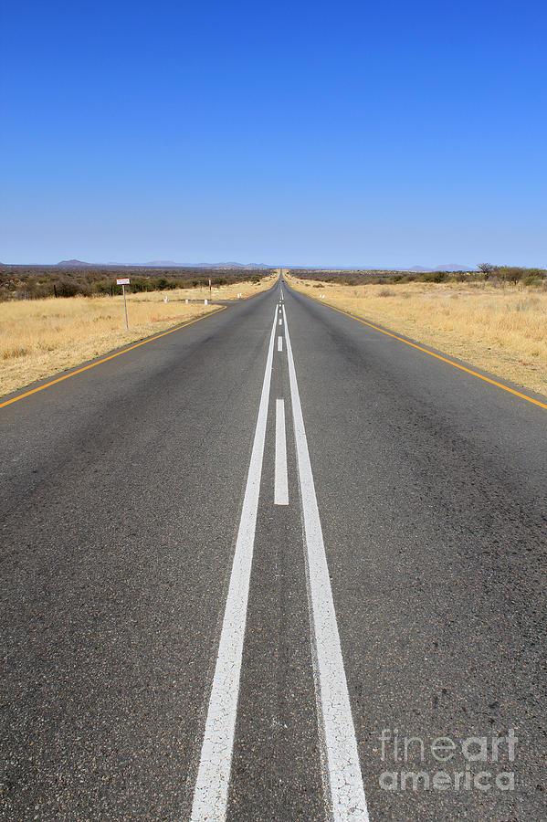 Rural Photograph - B1 Road In Namibia Heading Toward by Carlos Neto
