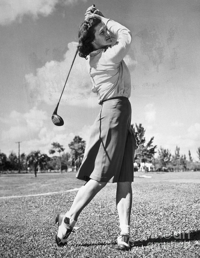 Babe Didrikson Swinging Golf Club Photograph by Bettmann